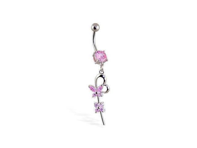Belly Ring with Dangling Flower Heart and Butterfly