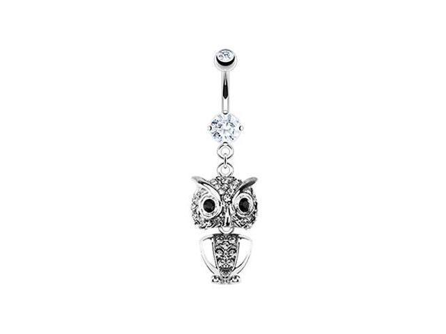 Navel ring with dangling jeweled owl