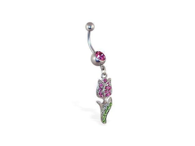 Belly Ring with Dangling Pink Rose
