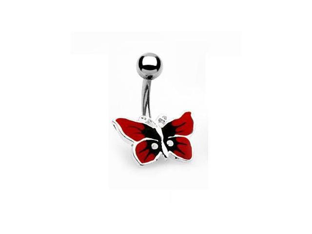 Red butterfly belly ring