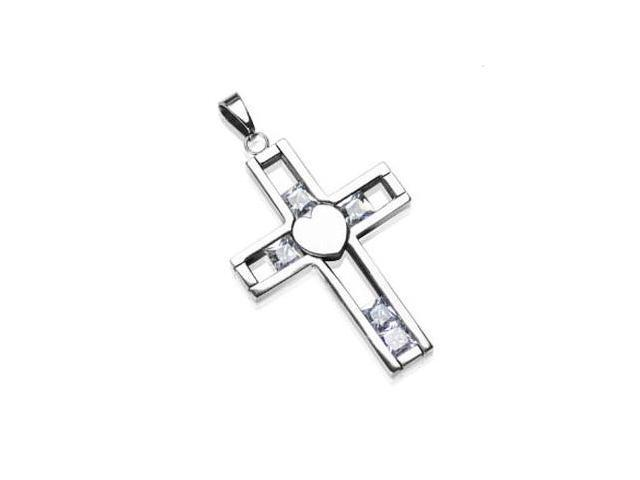 316L Stainless Steel Cross Pendant with Steel Heart in Middle and 5 Mobile CZ Gems