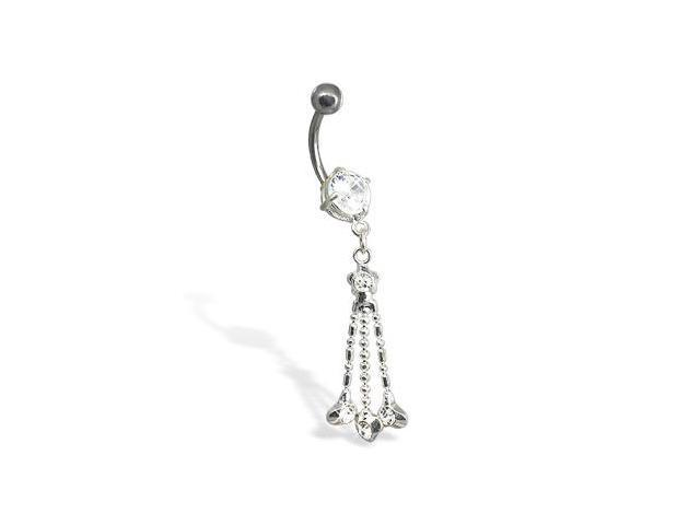 Belly button ring with three hearts on dangles