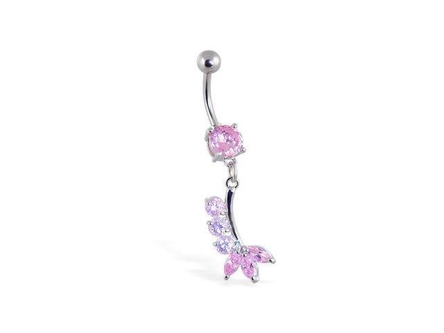 Belly Ring with Pretty Pink Dangle