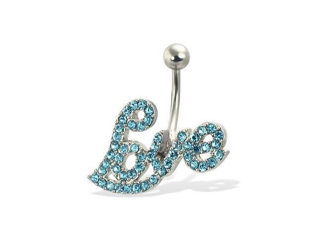 "Jeweled ""Love"" belly button ring"