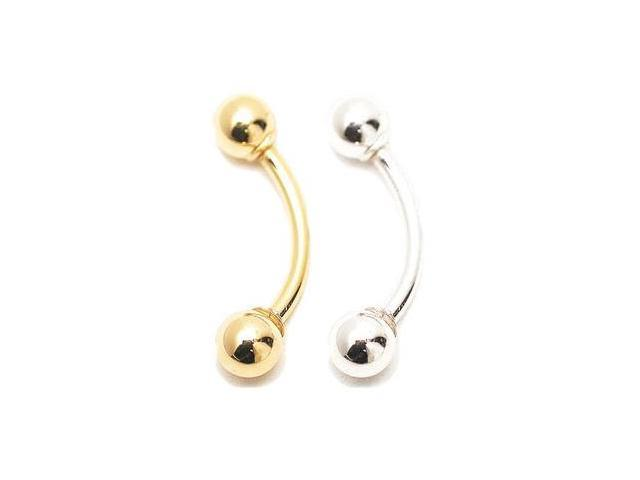 14K Gold Curved Barbell, 16 Ga,Length,5/16