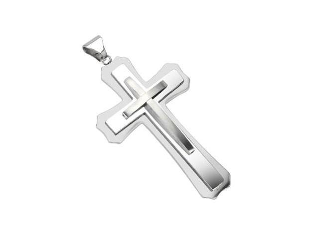 Stainless Steel Triple Cross Large Pendant