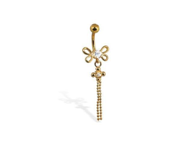 14K gold plated navel ring with dragonfly and dangles