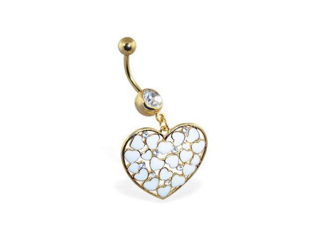 14K gold plated belly ring with dangling heart with hearts and gems