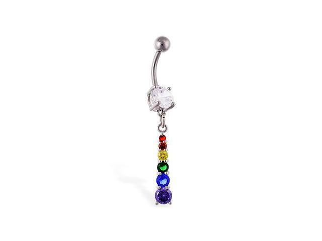 Navel ring with rainbow jeweled dangle