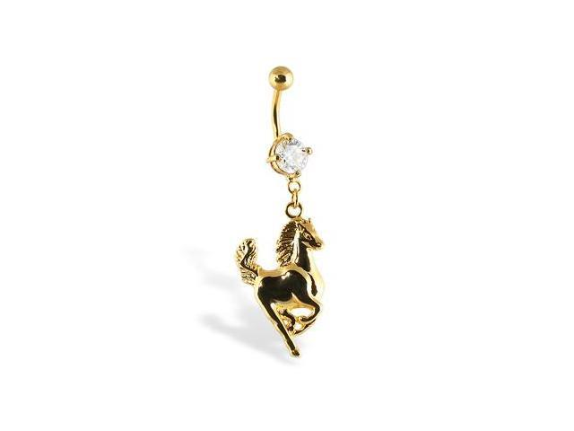 24K gold plated belly button ring with horse
