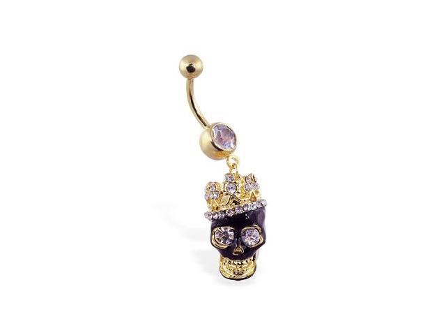 14K gold plated belly ring with dangling jeweled crowned black skull