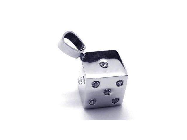 Stainless steel jeweled dice pendant