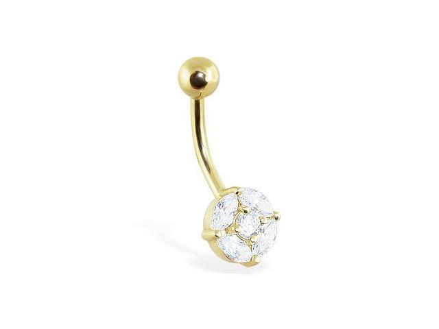 14K solid gold fancy jeweled belly ring