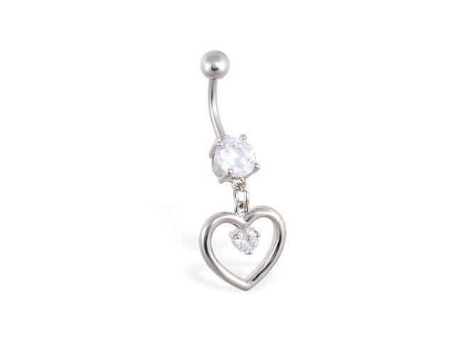 Navel ring with dangling heart and small gem