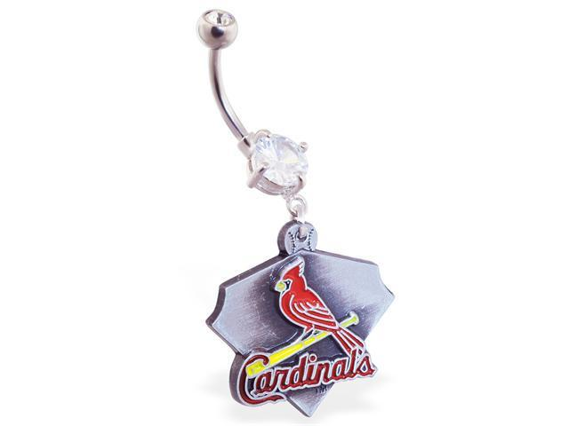 St. Louis Cardinals official licensed major league baseball belly ring