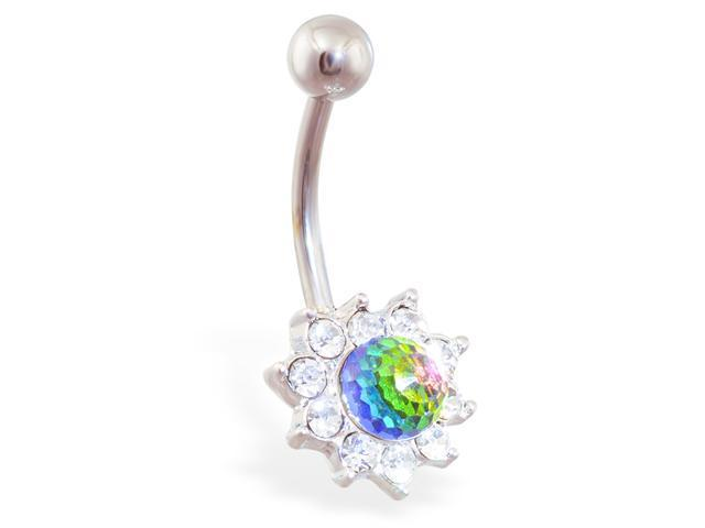 Jeweled flower belly ring with rainbow crystal ball