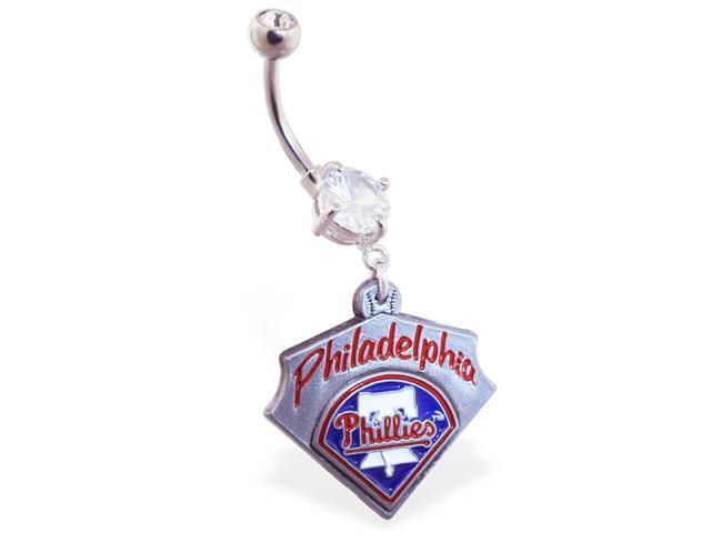 Philadelphia Phillies official licensed major league baseball belly ring
