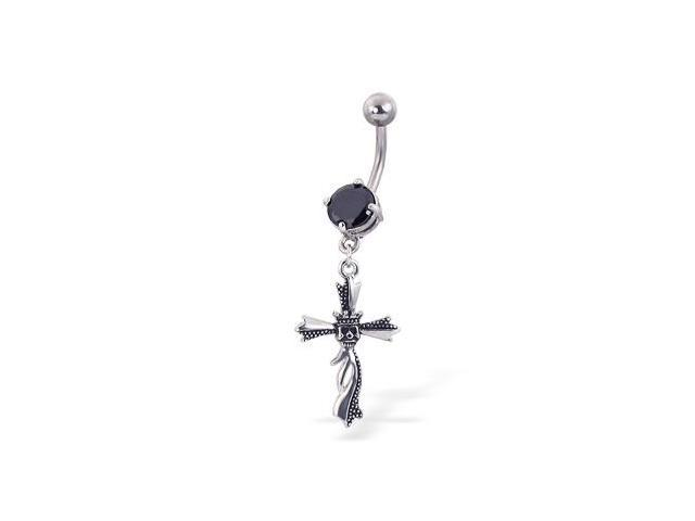 Jeweled belly button ring with dangling cross