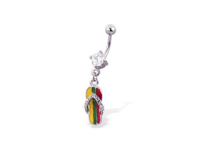 Flipflop with Jamican stripe navel ring