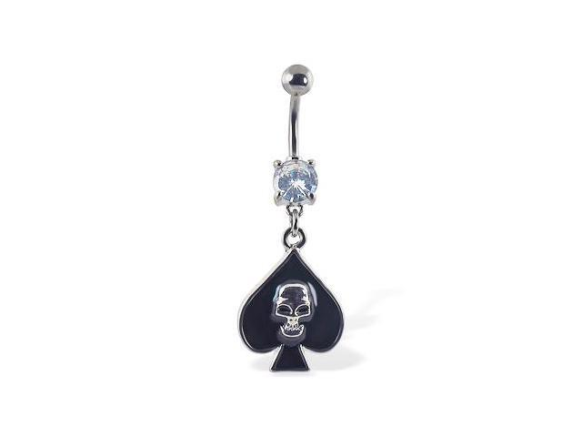 Navel ring with dangling spade with skull