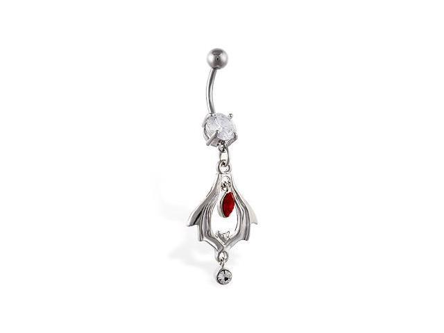 Navel ring with dangling bat tribal design with red and clear stone