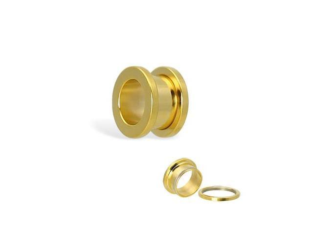 14K gold plated tunnel with threaded back, 1/2