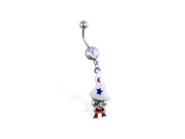 Navel ring with dangling magical gnome