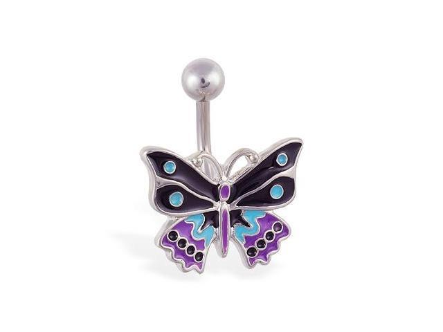 Fancy colorful butterfly belly ring