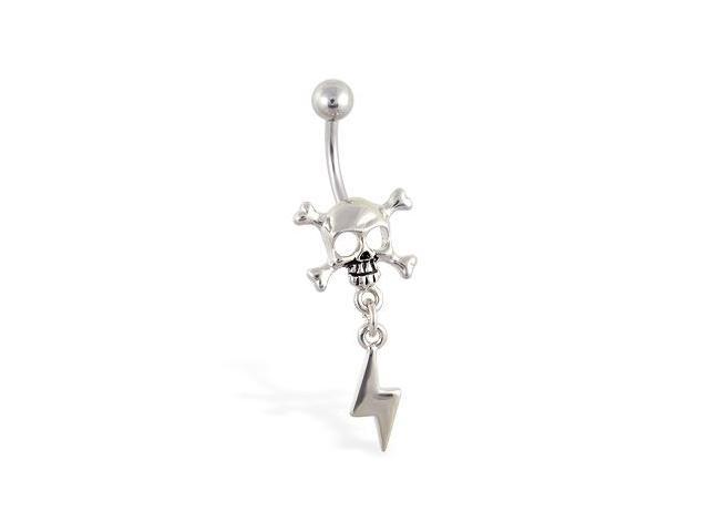 Belly ring with dangling skull and lightning bolt