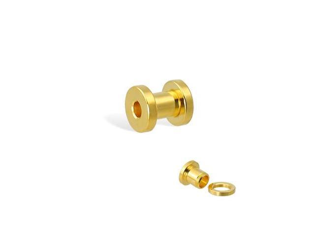 14K gold plated tunnel with threaded back, 4 ga
