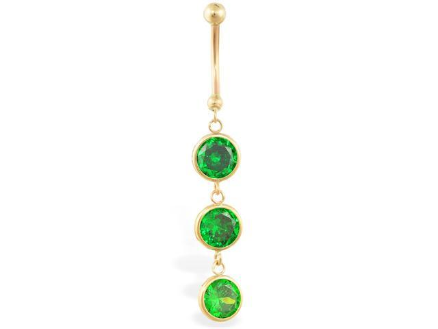 14K solid gold belly ring with 3 dangling emerald circle CZ'S