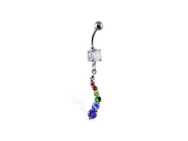 Navel ring with curved rainbow jeweled dangle