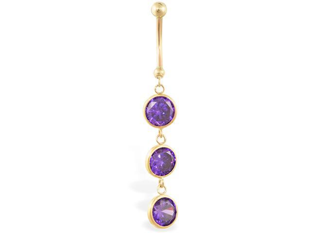 14K solid gold belly ring with 3 dangling amethyst circle CZ'S