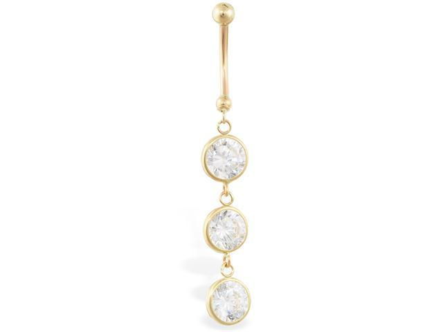 14K solid gold belly ring with 3 dangling clear circle CZ'S