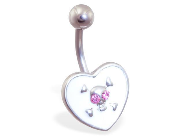 White heart belly ring with pink jeweled skull