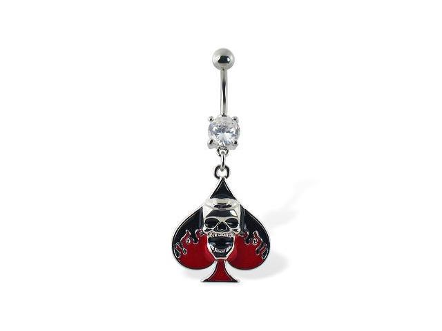 Navel ring with dangling spade and skull
