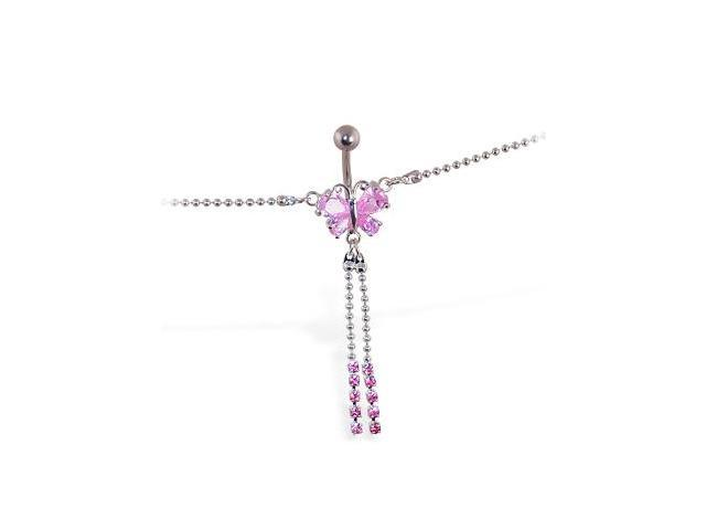 Pink jeweled butterfly belly chain