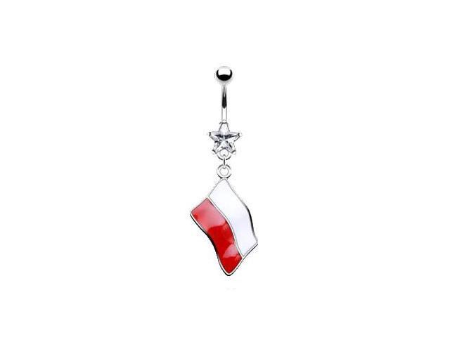 Belly ring with dangling Polish flag