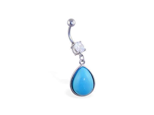 Belly ring with big dangling lt blue teardrop