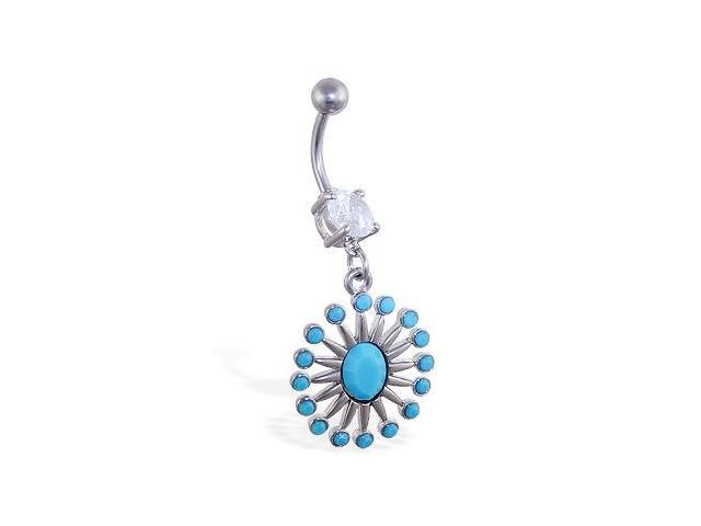 Belly ring with dangling fansy lt blue stoned pendant