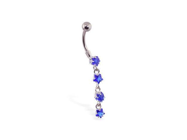 Navel ring with jeweled 4-star dangle