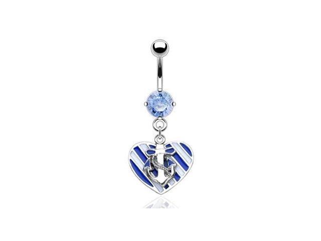Navel ring with dangling sailor love heart