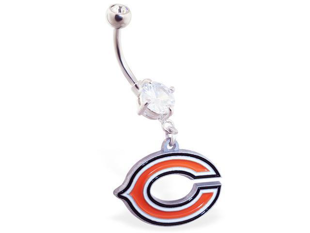 Chicago Bears official licensed NFL football belly ring