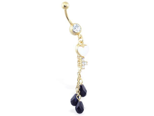 14K gold plated jeweled belly ring with dangling heart key and black stones