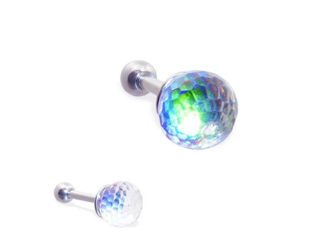 Steel cartilage barbell with rainbow anodized crystal ball, 16 ga