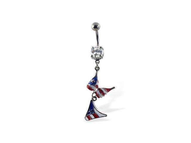 Belly button ring with dangling flag bikini