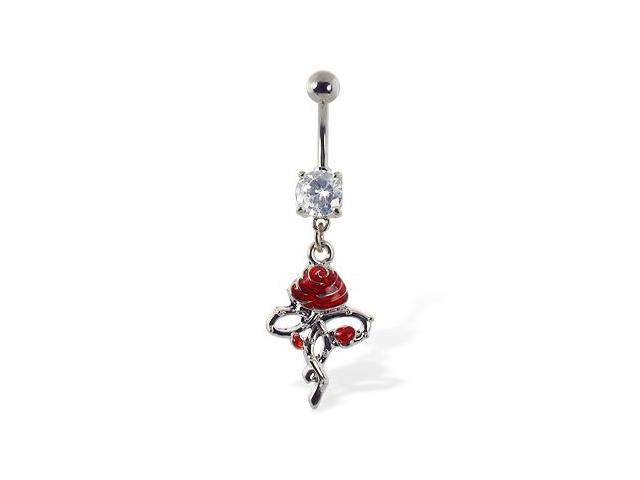 Navel ring with dangling rose with thorny stem