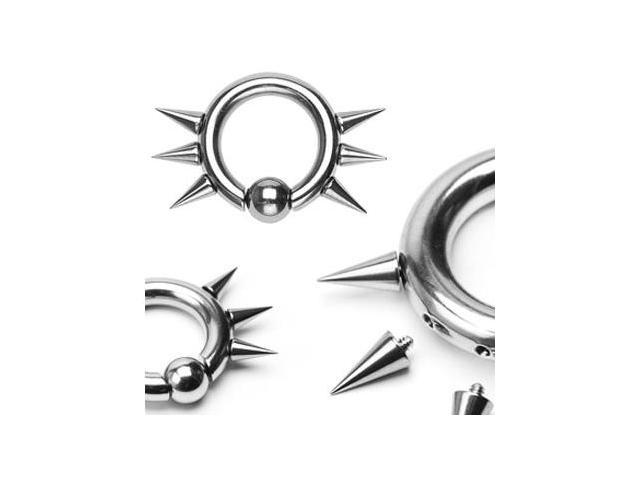 316L Surgical Steel Easy Snap-In Captive Bead Ring w/ 6 Internally Threaded Spikes, 6ga