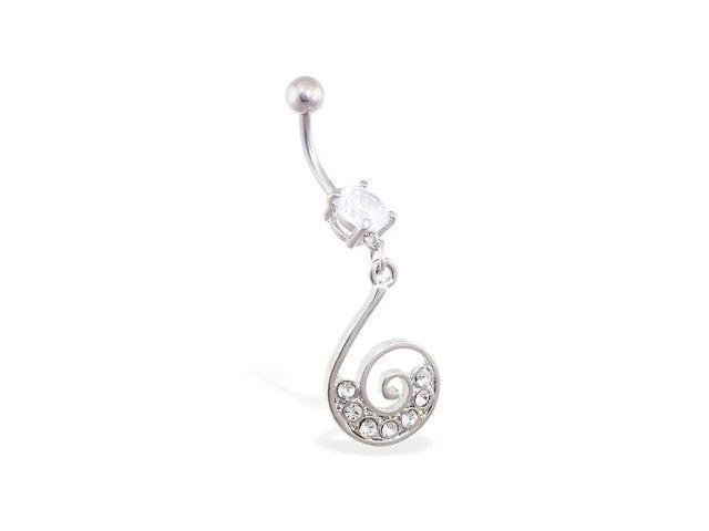 Jeweled navel ring with swirled CZ dangle