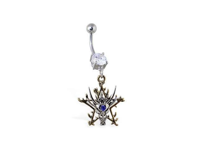 Navel ring with dangling dragon head with gold colored star